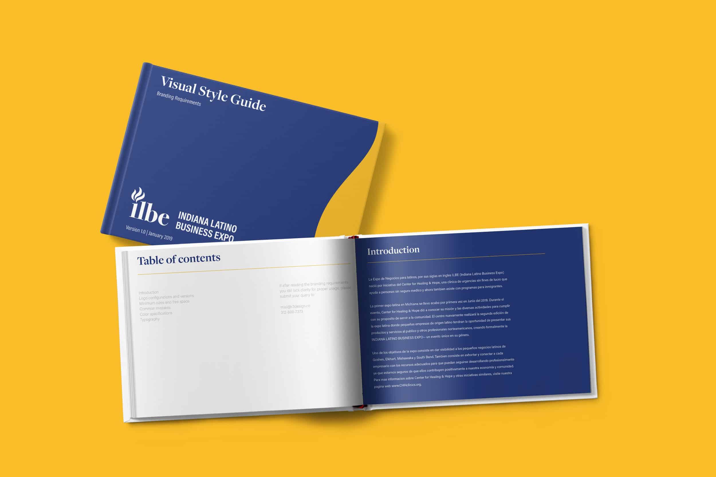 ILBE visual guideline book mockup.